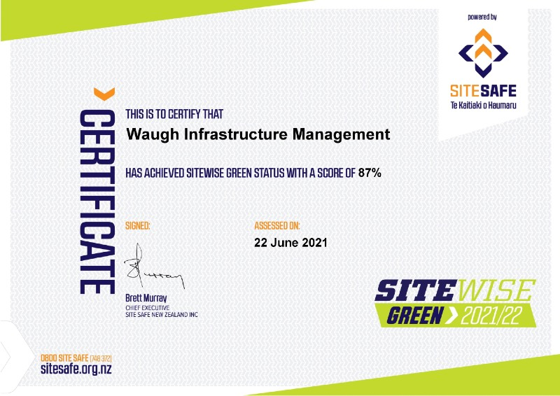 Waugh Infrastructure Management SiteWise Green Certificate 2021-22